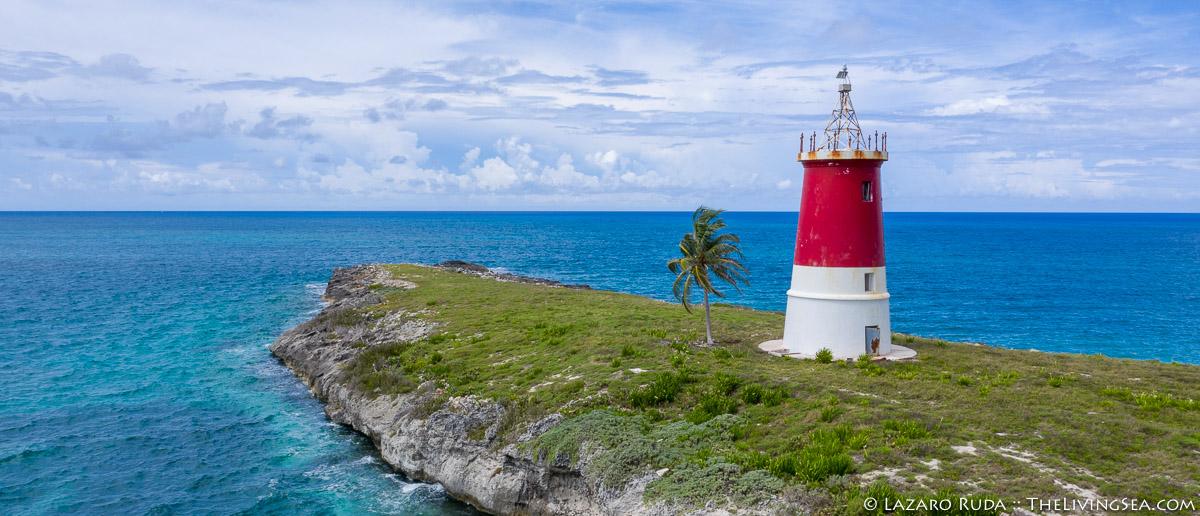 Atlantic Ocean, Bahama Island, Bahamas, Bimini, Laz Ruda, Lazaro Ruda Wildlife Photographer, TheLivingSea.com, aerial, horizontal, lighthouse, ocean, wide angle